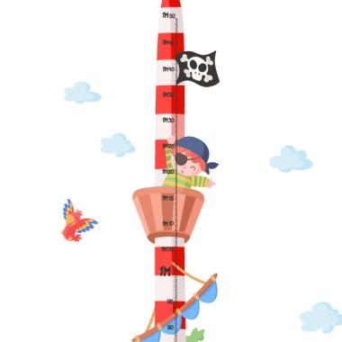 Medidor Pirata - Vinilos infantiles Medidores Vinilo medidor de pared. Una buena idea para decorar habitaciones infantiles y a la vez controlar el crecimiento de tus peques.  Medidas del vinilo Tamaño del montaje con las nubes: 135x35 cm Tamaño de la lámina: 135x30 cm ¡Incluye 16 etiquetas para marcar lo que quieras! vinilos infantiles y bebé Starstick