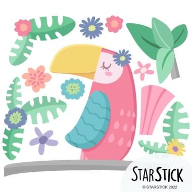Vinilos infantiles – El tucán presumido Inicio Vinilo decorativo para niñas con un coqueto tucán en tonos pastel. Vinilos de pared para decorar habitaciones de niñas de manera muy original. El pack incluye el tucán, las flores y la rama.  Medidas aproximadas del vinilo montado (ancho x alto) Básico:70x40cm Pequeño:110x75cm Mediano:140x100cm Grande:185x130cm Gigante:250x166cm  AÑADE UN NOMBRE AL VINILO DESDE 9,99€ vinilos infantiles y bebé Starstick