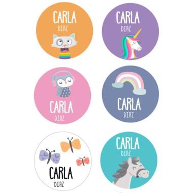 Étiquettes personnalisées pour vêtements. Ronds grand - Modèle 15