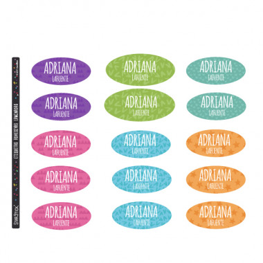 Étiquettes personnalisées pour les vêtements. Ovale moyen - Modèle 17