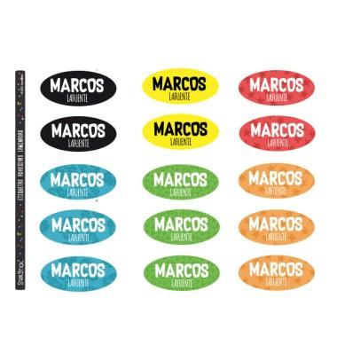 Étiquettes personnalisées pour les vêtements. Ovale moyen - Modèle 18