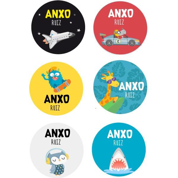 Étiquettes personnalisées. Rondes grand - Modèle 30 Étiquettes personnalisées rondes - Grand Vous pouvez personnaliser tout ce que vous voulez avec les étiquettes StarStick.Étiquettes de grande qualité est résistante à l'eau. Bouquins, cahiers, biberons, gourdes, boîtes à tartines...En plus d'utiles les étiquettes StarStick, sont le plus chic. Matériau:Sticker autocollantpelliculage Dimensions: 55 mm de diamètre Unités: Lots de 6, 12 ou 24 étiquettes Lignes imprimables: 2 vinilos infantiles y bebé Starstick