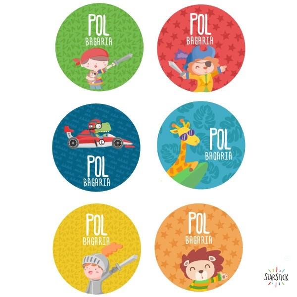 Étiquettes personnalisées. Rondes grand - Modèle 31 Étiquettes personnalisées rondes - Grand Vous pouvez personnaliser tout ce que vous voulez avec les étiquettes StarStick.Étiquettes de grande qualité est résistante à l'eau. Bouquins, cahiers, biberons, gourdes, boîtes à tartines...En plus d'utiles les étiquettes StarStick, sont le plus chic. Matériau:Sticker autocollantpelliculage Dimensions: 55 mm de diamètre Unités: Lots de 6, 12 ou 24 étiquettes Lignes imprimables: 2 vinilos infantiles y bebé Starstick