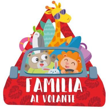 Familia al volante. Animales –  triángulo adhesivo de Bebé a Bordo