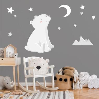 Stickers pour bébé - Ours blanc - Lune blanche