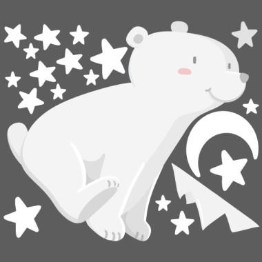 Stickers pour bébé - Ours blanc - Lune blanche Sticker muraux chambre bébé Mesures approximatives du vinyle monté (largeur x hauteur) Basique: 70x40 cm Petit: 100x60 cm  Moyen: 150x80 cm  Grand:250x140cm  AJOUTE UN NOM POUR LE VINYLE À PARTIR DE 9,99€   vinilos infantiles y bebé Starstick