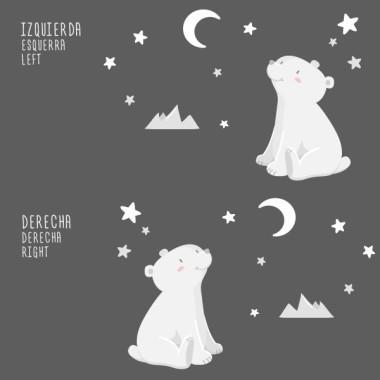 Vinils per nadó - Ós polar - Lluna blanca Vinils nadó  Dolç ós polar observant les estrelles. Ideal per decorar habitacions infantils i espais per als nadons. Vinils de gran qualitat i molt fàcils d'instal·lar.  Mides aproximades del vinil enganxat (ample x alt) Bàsic: 70x40 cm Petit: 100x60 cm  Mitjà: 150x80 cm  Gran:250x140 cm  AFEGEIX UN NOM PER EL VINIL DE 9,99€   vinilos infantiles y bebé Starstick