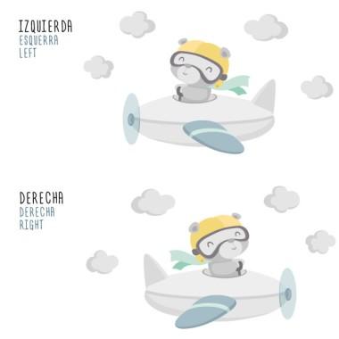 Stickers pour bébé - Ours aviateur Sticker muraux chambre bébé Mesures approximatives du vinyle monté (largeur x hauteur) Basique:70x40 cm Petit:110x55 cm Moyen:130x70 cm Grand:200x100 cm Géant: 325X220  AJOUTE UN NOM POUR LE VINYLE À PARTIR DE 9,99€   vinilos infantiles y bebé Starstick