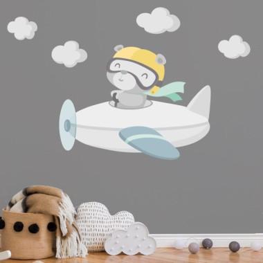 Stickers pour bébé - Ours aviateur