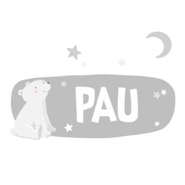 Ours blanc - Lune blanche - Sticker nom de porte
