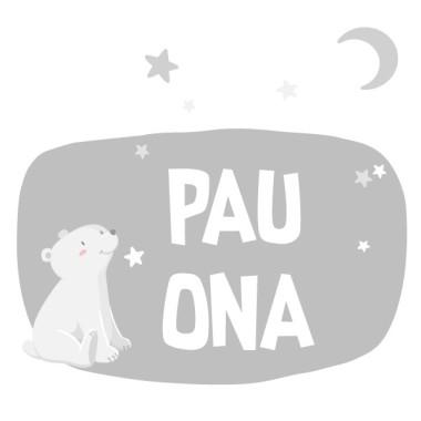 Ours blanc - Lune blanche - Sticker nom de porte Stickers porte chambre Taillede la feuille/montage 1 prénom:25x15cm 2 prénoms:25x23cm   vinilos infantiles y bebé Starstick