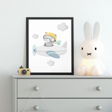 Lámina decorativa infantil - Osito aviador