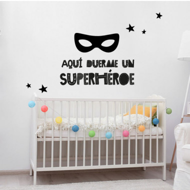 Aquí duerme un superhéroe - Vinilos infantiles de pared