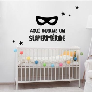Aquí hi dorm un superheroi - Vinils infantils de paret