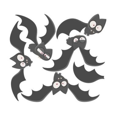 Chauves-souris terrifiantes - Sticker pour enfants Stickers Garçons Mesures approximatives du vinyle monté (largeur x hauteur) Basique:80x40 cm Petit:110x60cm Moyen175x80 cm Grand:226x140 cm  AJOUTE UN NOM POUR LE VINYLE À PARTIR DE 9,99€   vinilos infantiles y bebé Starstick