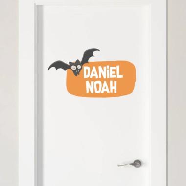 Chauves-souris terrifiantes - Sticker nom de porte