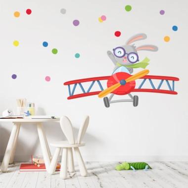 Vinils infantils decoratius - Avioneta amb conillet