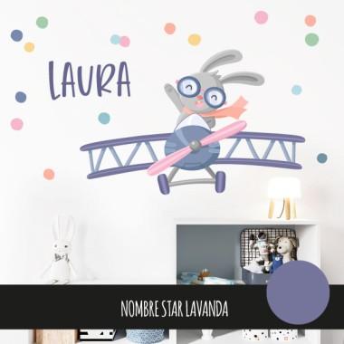 Stickers muraux - Petit avion avec lapin