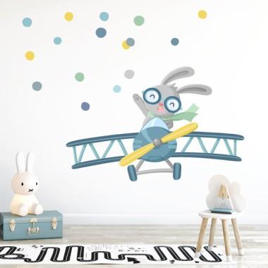 Vinilos infantiles decorativos - Avioneta con conejito