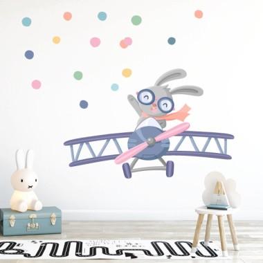 Stickers muraux - Petit avion avec lapin Sticker muraux chambre bébé Mesures approximatives du vinyle monté (largeur x hauteur) Basique: 70x50 cm Petit: 120x75 cm  Moyen:150x85 cm  Grand: 200x130 cm Géant: 270x170 cm  AJOUTE UN NOM POUR LE VINYLE À PARTIR DE 9,99€   vinilos infantiles y bebé Starstick