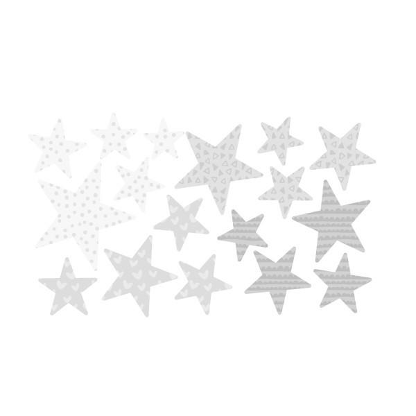 Extra Pack - Estrellas gris Extra Packs Extrapack con 17 estrellas Tamaño de las estrellas: Entre3 y 8 cm de ancho cada una Tamaño de la lámina: 30x15 cm vinilos infantiles y bebé Starstick