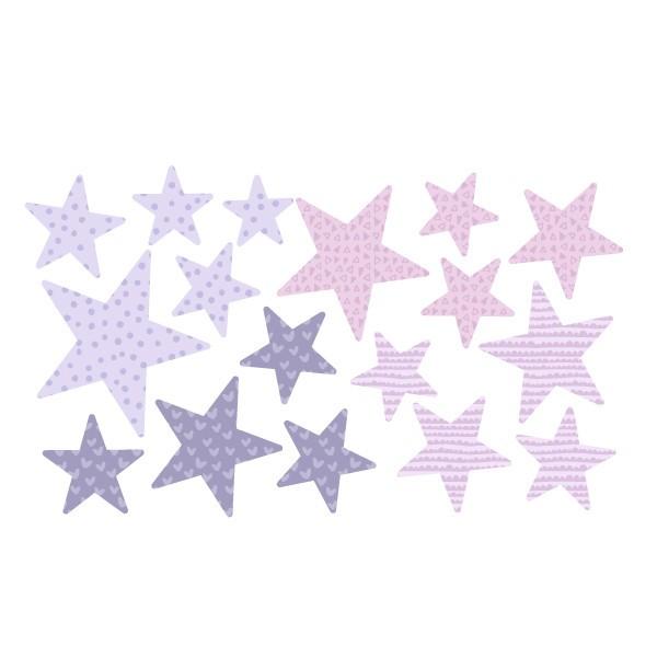 Extra Pack - Estrellas lavanda Extra Packs Extrapack con 17 estrellas Tamaño de las estrellas: Entre3 y 8 cm de ancho cada una Tamaño de la lámina: 30x15 cm vinilos infantiles y bebé Starstick