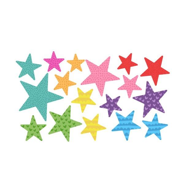 Extra Pack - Estrellas party Extra Packs Extrapack con 17 estrellas Tamaño de las estrellas: Entre3 y 8 cm de ancho cada una Tamaño de la lámina: 30x15 cm vinilos infantiles y bebé Starstick