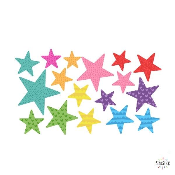 Pack supplémentaire - Étoiles party Packs supplémentaires Extrapack avec 17 étoiles Taille des étoiles: entre 3 et 8 cm de large chacune Taille de la lame: 30x15 cm vinilos infantiles y bebé Starstick