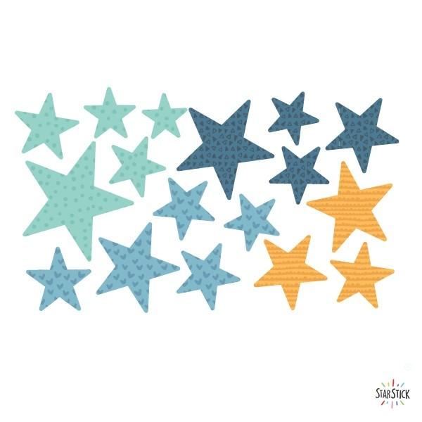 Extra Pack - Estrellas azules y naranja Extra Packs Extrapack con 17 estrellas Tamaño de las estrellas: Entre3 y 8 cm de ancho cada una Tamaño de la lámina: 30x15 cm vinilos infantiles y bebé Starstick
