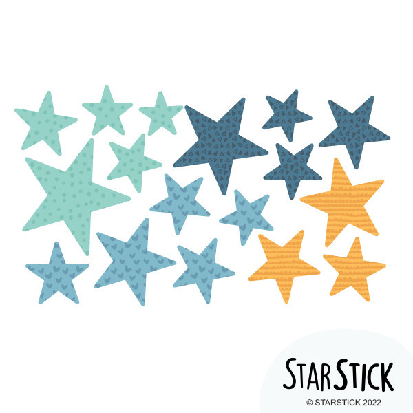 Extra Pack - Estrelles blaves Extra Packs Extrapack amb 17 estrelles Mida de les estrelles: Entre3i 8 cm d'ample cada una Mida de la làmina: 30x15 cm  vinilos infantiles y bebé Starstick