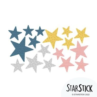 Extra Pack - Estrelles vintage Extra Packs Extrapack amb 17 estrelles Mida de les estrelles: Entre3i 8 cm d'ample cada una Mida de la làmina: 30x15 cm  vinilos infantiles y bebé Starstick