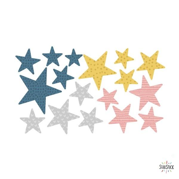 Extra Pack - Estrellas vintage Extra Packs Extrapack con 17 estrellas Tamaño de las estrellas: Entre3 y 8 cm de ancho cada una Tamaño de la lámina: 30x15 cm vinilos infantiles y bebé Starstick