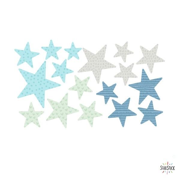 Extra Pack - Estrelles mint Extra Packs Extrapack amb 17 estrelles Mida de les estrelles: Entre3i 8 cm d'ample cada una Mida de la làmina: 30x15 cm vinilos infantiles y bebé Starstick