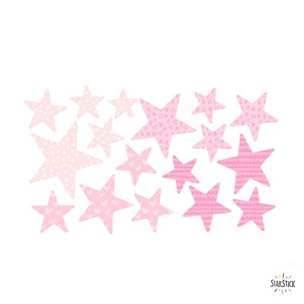 Extra Pack - Estrelles rosa nadó Extra Packs Extrapack amb 17 estrelles Mida de les estrelles: Entre3i 8 cm d'ample cada una Mida de la làmina: 30x15 cm vinilos infantiles y bebé Starstick