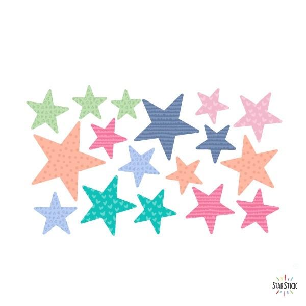Extra Pack - Estrelles candy Extra Packs Extrapack amb 17 estrelles Mida de les estrelles: Entre3i 8 cm d'ample cada una Mida de la làmina: 30x15 cm vinilos infantiles y bebé Starstick