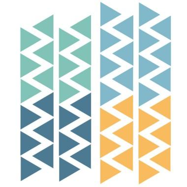 Triángulos nórdicos combinación azul - Vinilos bebé