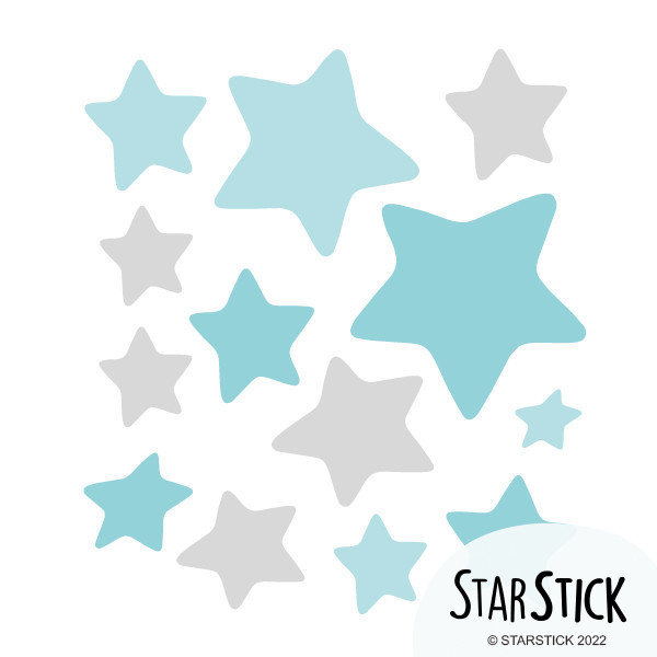 Extra Pack - Estrellas osito, bebé o elefante en la luna Gris Extra Packs Extrapack de 13 estrellas de entre 4 y 8 cm de ancho. Tamaño de la lámina: 25x25 cm  vinilos infantiles y bebé Starstick