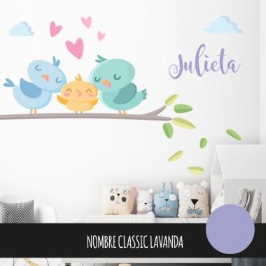 Sticker décoratif pour bébé - Famille d'oiseaux