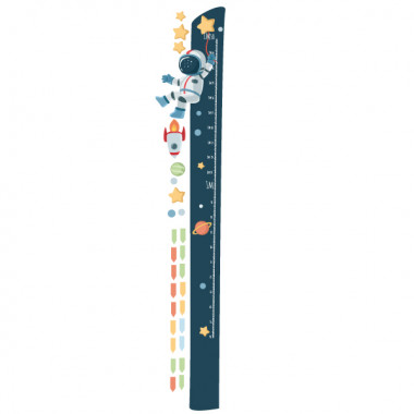Vinilo infantil medidor - Astronauta, misión espacial Medidores Medidor de pared con un astronauta en medio del espacio. Ideal para decorar paredes de habitaciones infantiles de manera original y divertida. Vinilo para niños y niñas con una misión muy concreta; la estrella de la felicidad. Medidasdel viniloTamaño de la lámina: 22x135 cmTamaño del montaje: 60x135 cm¡Incluye 16 etiquetas para marcar lo que quieras! vinilos infantiles y bebé Starstick