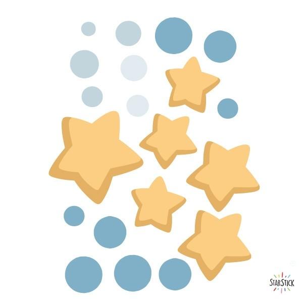 Extra Pack - Astronauta, misión espacial Packs supplémentaires El extrapack incluye: 6 estrellas. Cada una mide entre 8 y 5 cm 12 lunares. Cada uno mide entre 1 y 1,3 cm Tamañode la lámina: 20x25 cm vinilos infantiles y bebé Starstick