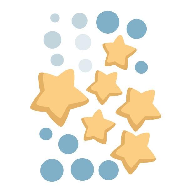 Extra Pack - Astronauta, missió espacial Extra Packs L'extrapack inclou: 6 estrelles. Cadascuna mesura entre 8 i 5 cm 12 topos. Cadascun mesura entre 1 i 1,3 cm Mida de la làmina: 20x25 cm vinilos infantiles y bebé Starstick