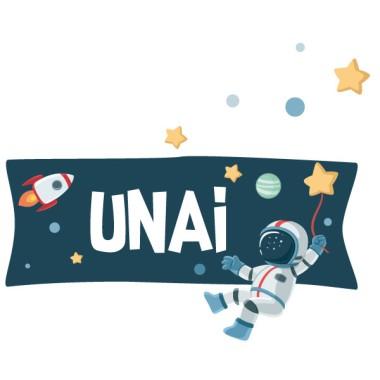 Astronauta, misión espacial - Nombre para puertas. Vinilo infantil