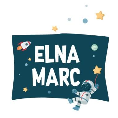 Astronaute, mission spatiale - Sticker nom de porte