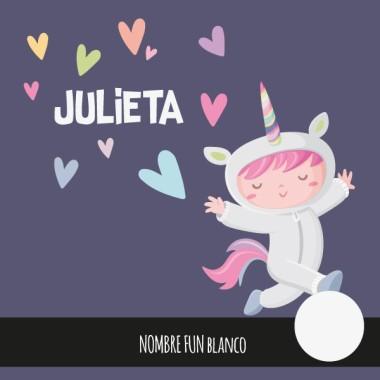 Vinil infantil de paret - Nena disfressada d'unicorn
