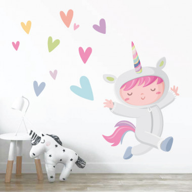 Sticker décoratif - Fille déguisée en licorne