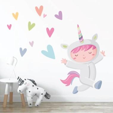 Vinilo infantil de pared - Niña disfrazada de unicornio