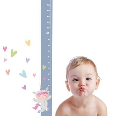 Vinilo infantil medidor - Niña disfrazada de unicornio