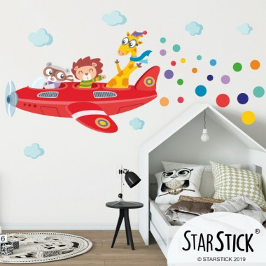 Avion avec des animaux - Sticker pour enfants et bébé