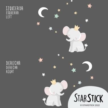 Vinilos para bebé – Elefante con corona - Luna blanca Vinilos infantiles Bebé Vinilo de pared para con la ilustración de un pequeño reyelefante mirando la luna. Vinilos decorativos perfectos para dar un toque de diseño a las habitaciones de los bebés. El pack incluye el elefante, la luna y las estrellas.  Medidas aproximadas del vinilo montado (ancho x alto) Básico:80x60cm Pequeño:125x95 cm Mediano:160x125 cm Grande:210x160 cm Gigante:250x200 cm  AÑADE UN NOMBRE AL VINILO DESDE 9,99€  vinilos infantiles y bebé Starstick