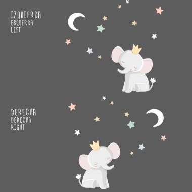 Vinils per a nadons - Elefant amb corona - Lluna blanca Vinils nadó  Vinil de paretamb la il·lustració d'un petit rei elefant mirant la lluna. Vinils decoratius perfectes per donar un toc de disseny a les habitacions dels nadons. El pack inclou l'elefant, la lluna i les estrelles. Mides aproximades del vinil enganxat (ample x alt) Bàsic:80x60cm Petit:125x95 cm Mitjà:160x125 cm Gran:210x160 cm Gegant:250x200 cm  AFEGEIX UN NOMALVINIL DESDE 9,99€   vinilos infantiles y bebé Starstick